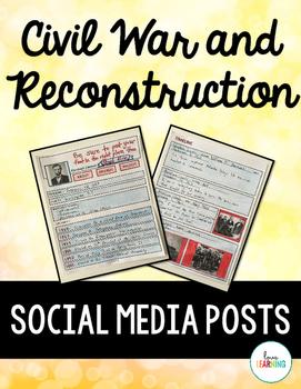 Civil War and Reconstruction Social Media Posts: A Fun Worksheet Alternative