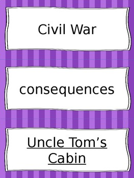 Civil War and Reconstruction Vocabulary Cards - SS4H5, SS4H6