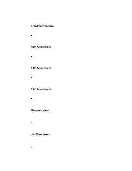 Civil War and Reconstruction Vocabulary Worksheet