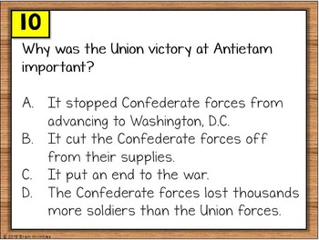 Civil War and Reconstruction Warm Ups