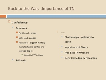 Civil War and Reconstruction in Tennessee