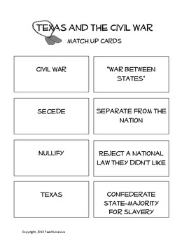 Civil War and Texas matching cards