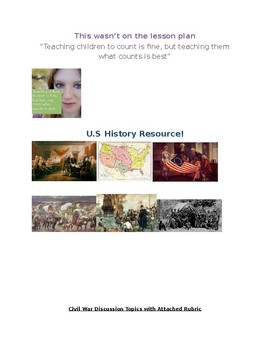 Civil War discussion topics with directions and rubric