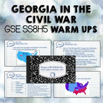 Civil War in Georgia Warm Ups - GSE SS8H5