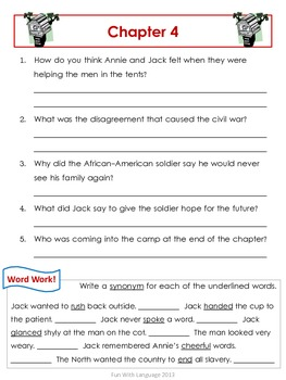 Civil War on Sunday Magic Tree House #21 Comprehension Novel Study