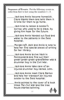 Civil War on Sunday : Magic Tree House #21 Novel Study / Reading Comprehension
