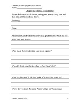 Civil War on Sunday Worksheets (Magic Tree House #21)
