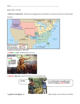 Civil War review sheet with visuals