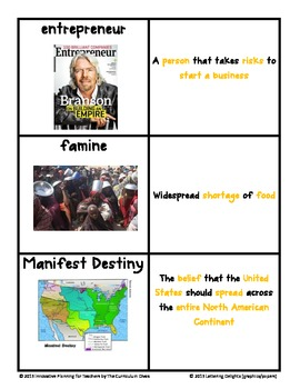 Civil War through Westward Expansion Vocabulary Cards with Pictures + CFAs