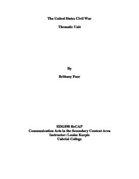 Civil War_Secondary Thematic Unit