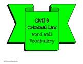 Civil and Criminal Law Vocabulary- Word Wall