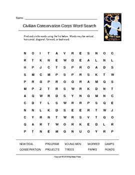 Civilian Conservation Corps Word Search (Grades 4-5)