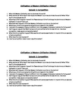 Civilization: Is Western Civilization History? Episode 1 Questions