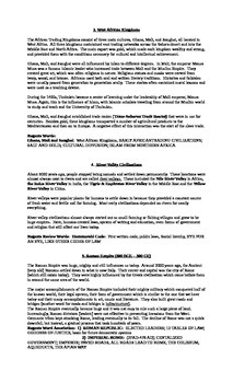 Civilizations Review Sheets, Worksheets and Test