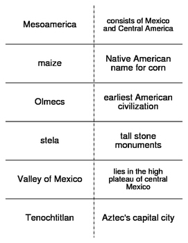 Civilizations of the Americas Vocabulary Flash Cards for W