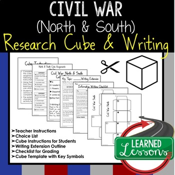 Civil War (North and South) Activity Research Cube with Writing