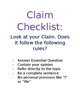 Claim Checklist