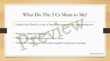 Claim/Cite/Clarify - 3 Sentence Paragraph