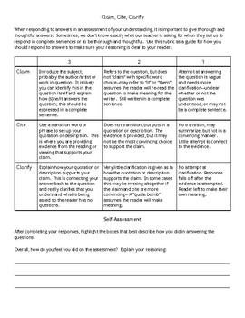 Claim, Cite, Clarify Rubric