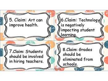 Claim & Evidence Matching Task Cards