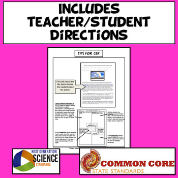 Claim Evidence Reasoning (CER) Graphic Organizer