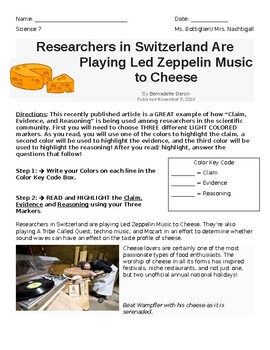 Claim Evidence Reasoning Cheese Article