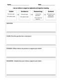 Claim, Evidence, Reasoning Graphic Organizer
