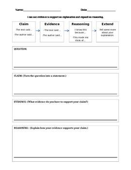 Claim, Evidence, Reasoning Graphic Organizer
