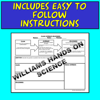 Claim Evidence Reasoning Graphic Organizer C.E.R. Common Core NGSS