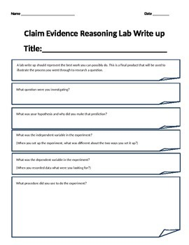 Claim Evidence Reasoning Lab Write Up Guide