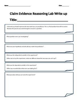 Claim Evidence Reasoning Lab Write Up Guide