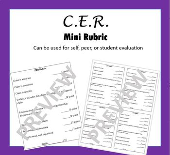 Claim Evidence Reasoning Mini Rubric