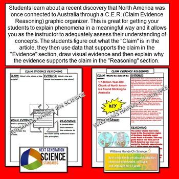 Claim Evidence Reasoning Plate Tectonics Pangaea Article and Graphic Organizer