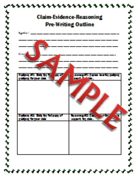 Claim - Evidence - Reasoning Pre-Writing and Writing Template
