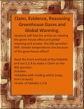 Claim, Evidence, Reasoning Relating Greenhouse Effect to Global Warming