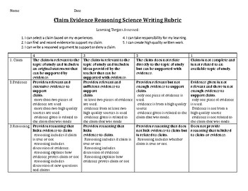 Claim Evidence Reasoning Science Writing Rubric