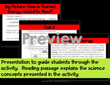 Claim, Evidence, Reasoning: Scientific Argument - Heat Transfer