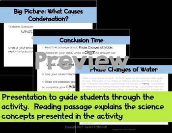 Condensation Water Cycle Scientific Argument with Claim Evidence Reasoning