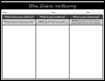 Claim, Evidence, Reasoning Charts