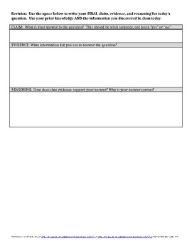 Claim, Evidence, and Reasoning Template - EDITABLE