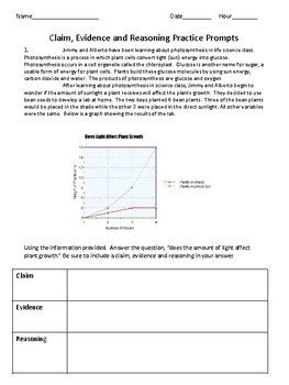Claim Evidence and Reasoning Writing Prompts