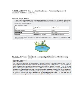 Claim, Evidence, and Reasoning - Writing in the Science classroom