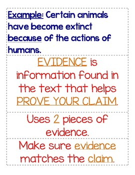 Claim, Evidence, and Response Anchor Chart & Packet