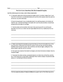 Claim Game for Narrative of the Life of Frederick Douglass