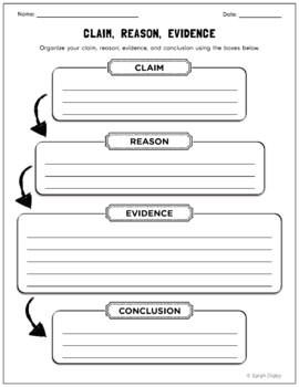 Claim reason and evidence graphic organizer tpt