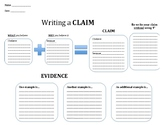Claim Writing Graphic Organizer