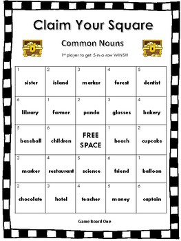 Claim Your Square - All About Nouns