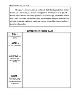 Claim and Evidence for Literary Essays