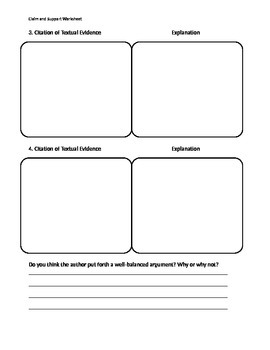 Claim and Support Worksheet