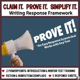 Claim it. Prove It. Simplify It. -  An EZ Writing about Reading Response System